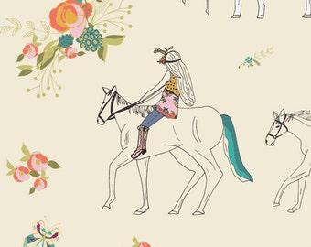 Anna Elise AG Fabric Encoloureful and Pretty Girl on Horse Back Boho Peach Pink Rose