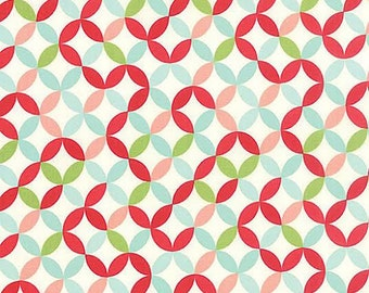 Hello Darling Fabric by Bonnie and Camille for MODA 14 Multicolored Floral Orange Peel Circular Lattice Work
