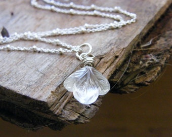carved crystal quartz flower wire wrapped gemstone bead necklace crystal