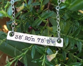 sterling silver skinny bar, hand stamped with latitude and longitude, location
