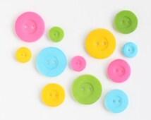 Button Edible Sugar Decorations, Button Cupcake Toppers, Pastel Button Sugars (24)