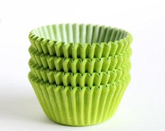 MINI Lime Green Cupcake Liners, Lime Green Mini Baking Cups, Mini Halloween Cupcake Liners (60)