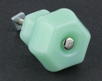 "4 Glass Drawer Pulls Knobs Jadeite Green Milk Glass 1-1/2"" Set of 4"