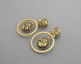 Damascene Earrings, Damascene Hoop Earrings, Black Earrings, Flower Earrings, Gold Earrings, Dangle Earrings, Gold Hoop Earrings