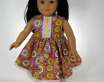 18 inch doll clothes, Pink Flower Sleeveless Dress, 07-0336