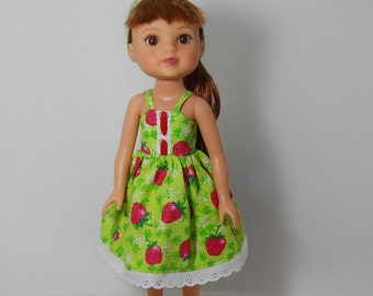 Designed to fit 14 inch dolls like H4H doll clothes, Green Strawberry Dress Sundress, 07-0362
