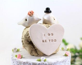 I do Me too Custom love birds Wedding cake topper Cake topper rustic White Love birds cake topper