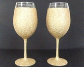 Gold Glittered Wine Glass with Waterproof Finish, Wedding Toasting Glass, Made to Order, Select Quantity, Price is For One Glass