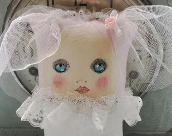 Bride Doll - Handpainted Art Doll - Gift for Her - Painted Cloth Doll - Wedding Gift Doll - Gift for Girls - Nursery Decor Girls