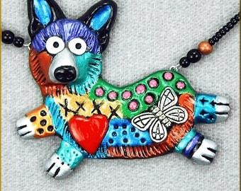 Hand Sculpted Pembroke Corgi Necklace by Kristy Zgoda
