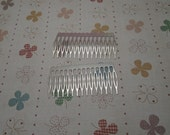 50 pcs Nickel Free Silver Plated Hair Comb with 15 Teeth Barrette Pin 80x39mm