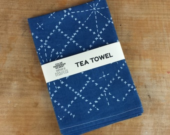 Organic Cotton Hemp Sashiko Pattern Tea Towel in Indigo