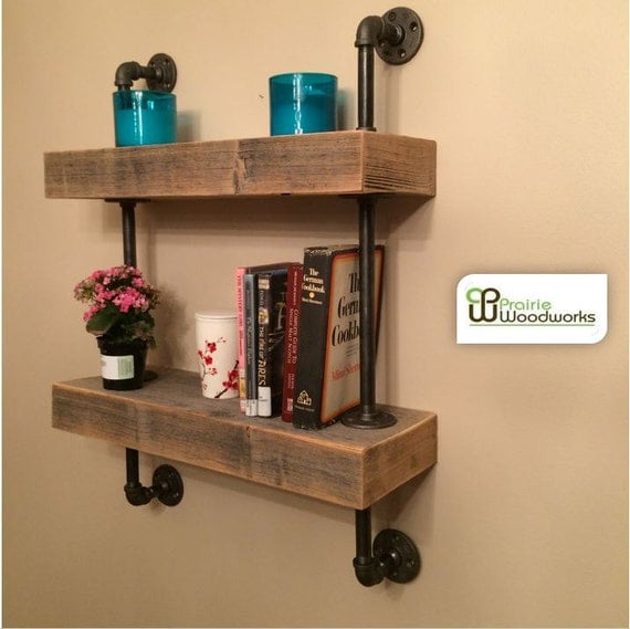 Industrial Metal Kitchen Shelves: Industrial Reclaimed Barn Wood Floating Shelves Mounted With