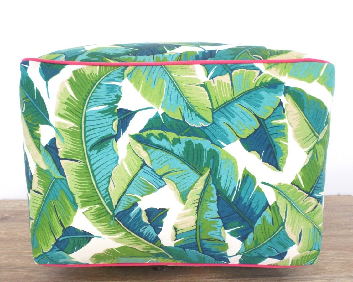 Large Tropical Floor Pouf In 20x20x15 In Palm Leaf Fabric