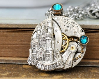 steampunk necklace - ONCE UPON a TIME - antique year 1915 Elgin watch movement necklace with castle and Swarovski aqua color rhinestones