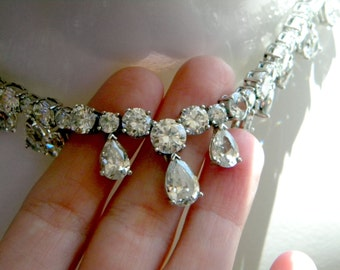 Magnificent faux diamond paste pear cut and round stone necklace - vintage Art Deco jewelry - bridal wedding necklace
