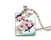 Cherry Blossoms - Scrabble Tile Necklace - Free Necklace Chain Included