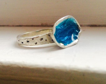 """Statement Ring Sterling Silver with Enamel Handmade """"a pistachio in love with water"""""""