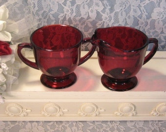 Vintage Anchor Hocking Glass Royal Ruby Red Cream and Sugar Set, 1950s Mid Century, Depression Glass Dinnerware, Christmas Glass Decor
