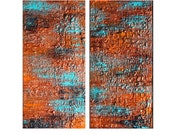 Original Textured Multipanel Abstract painting, Contemporary Modern Metallic Copper Fine Art by Henry Parsinia Large 24x24