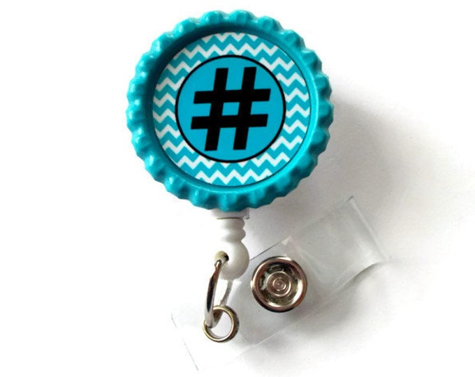 Hashtag - Retractable ID Badge Reel - Name Tag Badge - Cute ID Badge Reel - Nurse Badge Clip - Geeky Badge Reel - # - Teacher ID