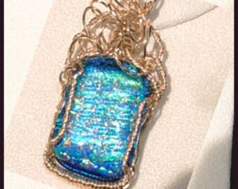 Gold Wire Wrapped Dichroic  Glass Pendant