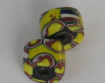 SALE 2 matching pieces  AfricanTrade Beads Yellow  Red Blue
