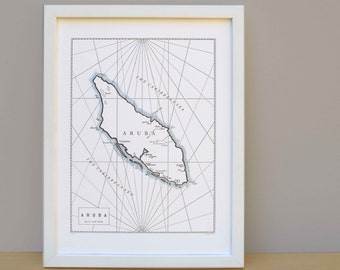 Aruba, Letterpress Nautical Map Art Print