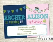 boy-girl dual birthday invite // diy printable invitation