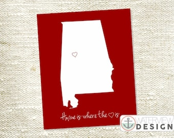 Alabama Printable - Home is Where the Heart Is