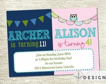 boy-girl dual birthday invite // diy printable invitation