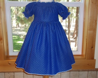 Girls Peasant Dress, Royal Blue Chambray Dress, Toddler Blue Dress, Girls Fall Winter Dress, Newborn thru Size 6 by Hopscotch Avenue