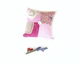 Sachet lavender rose pillow, mini pillow, quilted appliqued, organic lavender rose sachet pillow, sachet gift, room decor, aromatherapy