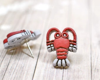 Red Lobster Earrings, Fun Gray and Red Lobsters, Nautical Beach Lovers Jewelry, Ocean Creatures, Animals Lobstah