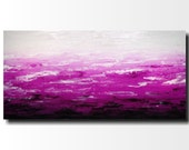 Original Large Abstract painting - 24 X 48 FREE US SHIPPING JMJartstudio-Striking Distance -Wall art- Purple painting-Oil painting-white