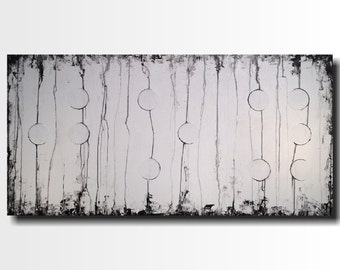 Original Large Abstract Braille painting - 24 X 48  JMJartstudio- Joy -Wall art-wall decor -Black and White painting- Custom