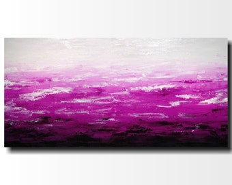 Original Large Abstract painting - 24 X 48 FREE US SHIPPING JMJartstudio-Striking Distance -Wall art- Purple painting-Oil painting-white