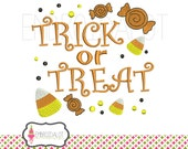 Trick or treat embroidery design. Halloween embroidery design. Fun machine embroidery with candy corn and lollies. Candycorn embroidery.