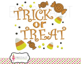 Trick or treat embroidery design. Halloween embroidery design. Fun machine embroidery with candy corn and lollies. Candy corn embroidery.