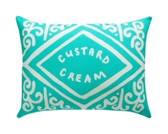 Custard Cream Printed Cushion - Mint / Biscuit Cushion - Cookie Pillow