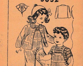 Vintage 1940s children Overall Jumper sew pattern