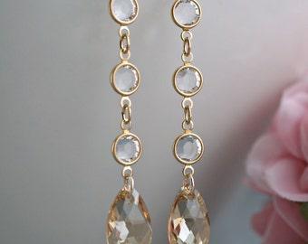 Swarovski Champagne earrings Dangle Golden shadow teardrops Bridesmaid Black drop channel links cup links Bridal party gift long dangle