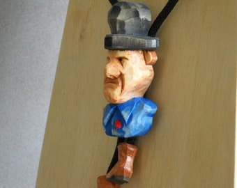 Handcarved wood Bolo Tie