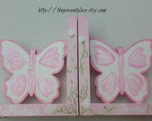handpainted butterfly bookends in pink painted to match Princess  bedding,bookends for girls,personalized bookends,butterfly bookends,