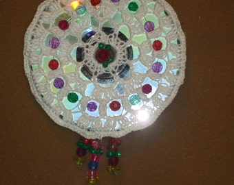reversible crocheted and beaded sun catcher