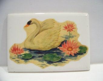 Vintage Wheeling Company Ceramic Tile Graceful Swan