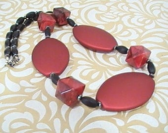Large Scale Red and Matte Black Necklace