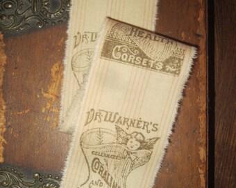 Tattered Cotton Ribbon Vintage Dr. Warner's Corset Ad Blush Pink Ticking Stripe