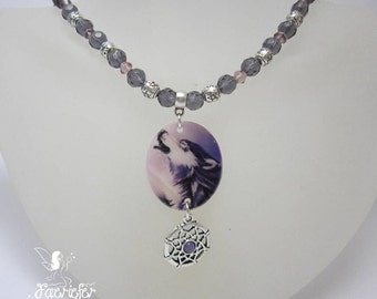 Howling Wolf Dream Catcher necklace with wolf shell pendant  crystal and pentagram beading and dream catcher charm with amethyst cabochon