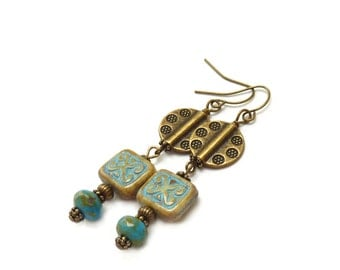 Blue Bohemian Dangle Earrings - Picasso Czech Glass Beads - Bronze Beads - Southwestern Style - Aztec - Boho Jewelry